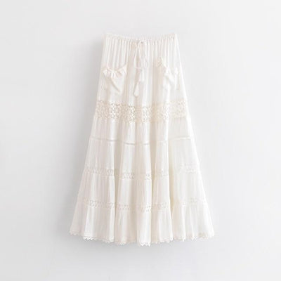Boho Long Skirt White Lace bohemian life