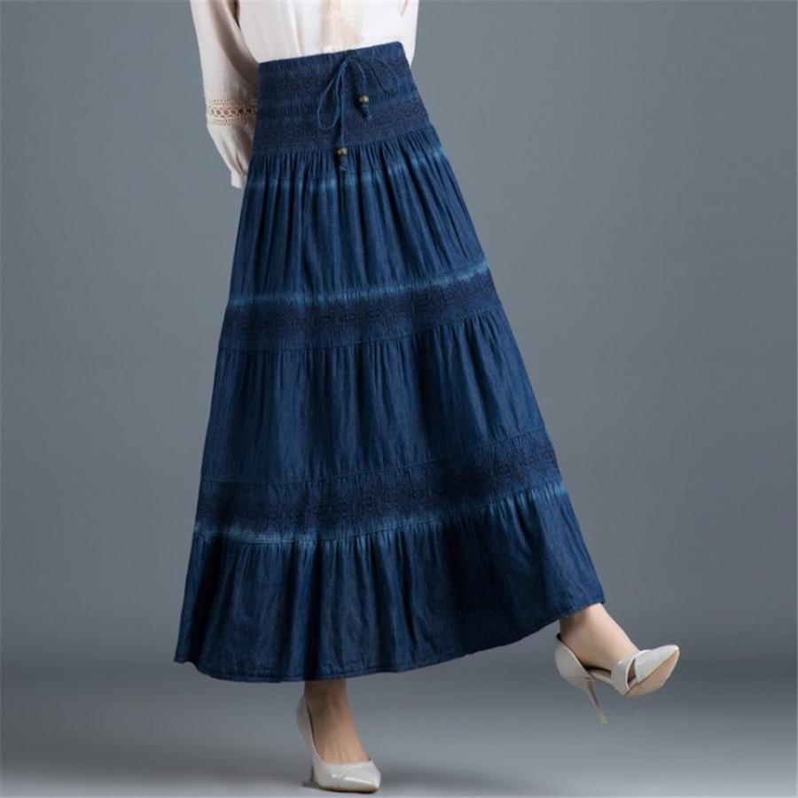 Dark Blue Boho Long Skirt cute