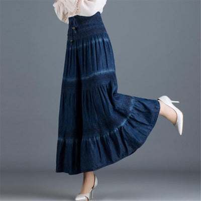 Dark Blue Boho Long Skirt high quality