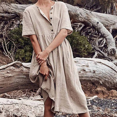 Long Linen Boho Dress finely tailored