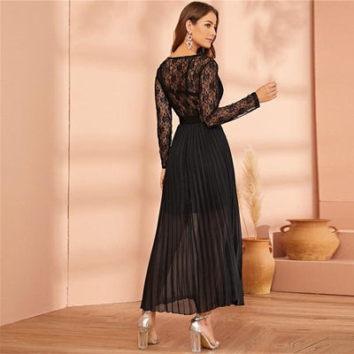 Boho Dress Long Black Lace cute
