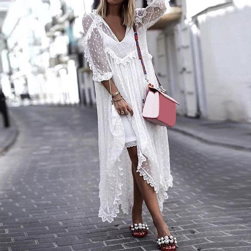 Boho Dress White Lace Long Sleeve Ladylike