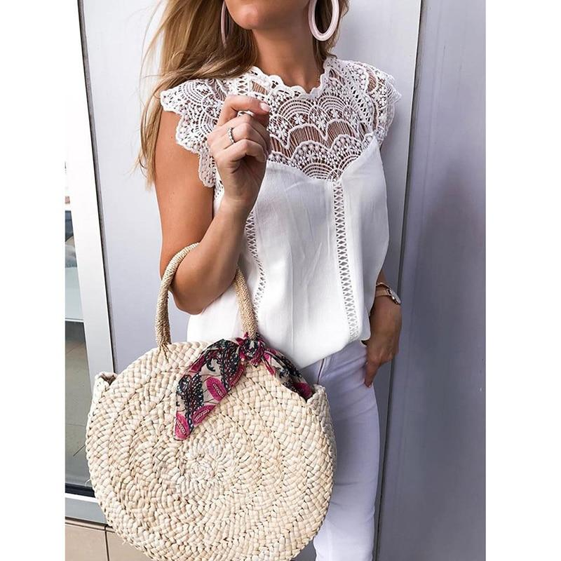 White Blouse Boho Lace women