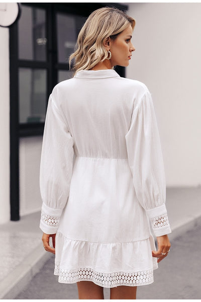 White Boho Short Dress Lace Long Sleeve 2019