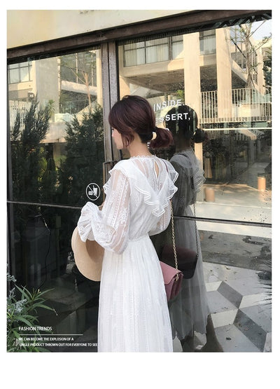 Boho White Lace Long Dress beautiful
