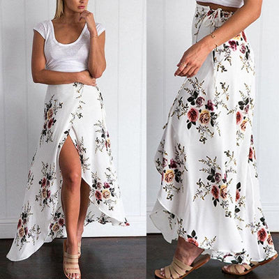 Boho White Long Skirt boho