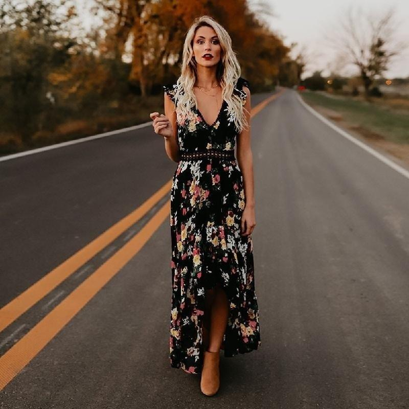 Black Long Boho Dress Ladylike
