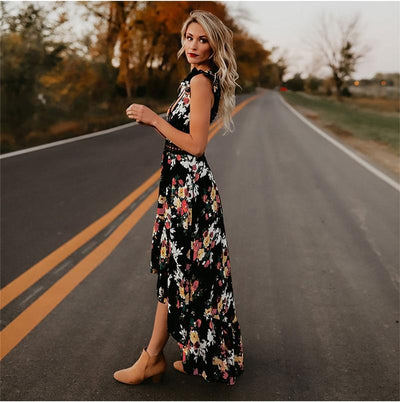 Black Long Boho Dress bohemian