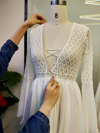 Long Boho Dress White Lace style