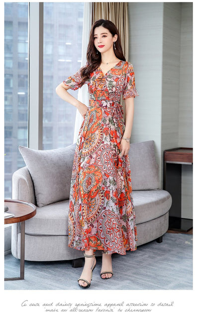 Boho Floral Long Dress trendy