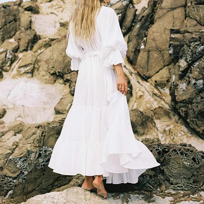 Long White Dress With Boho Denudees Shoulders low price