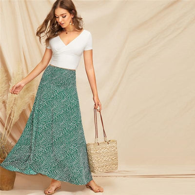 Mint Green Boho Long Skirt trendy