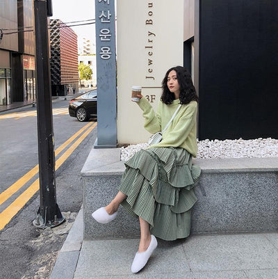 Pastel Green Boho Long Skirt 2020