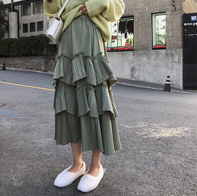 Pastel Green Boho Long Skirt Ladylike