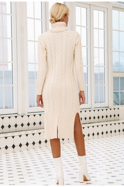 Long White Winter Boho Dress finely tailored