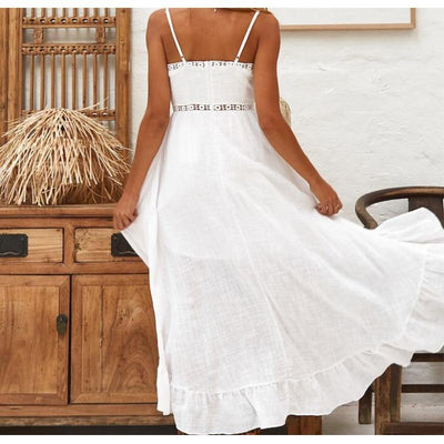 Asymmetrical White Long Dress bohemian