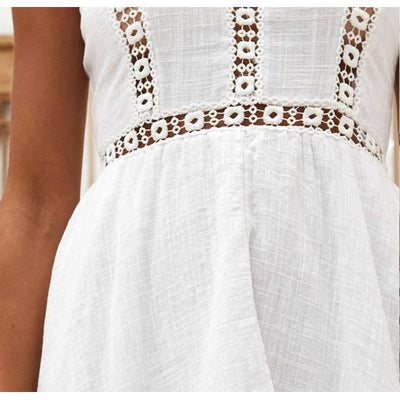 Asymmetrical White Long Dress boho