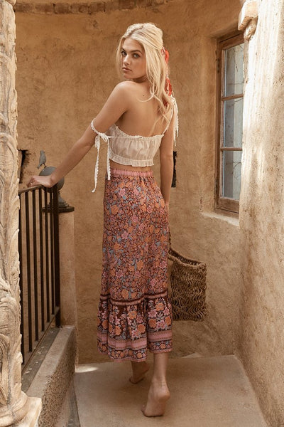 Long Boho Flowery Skirt cheap