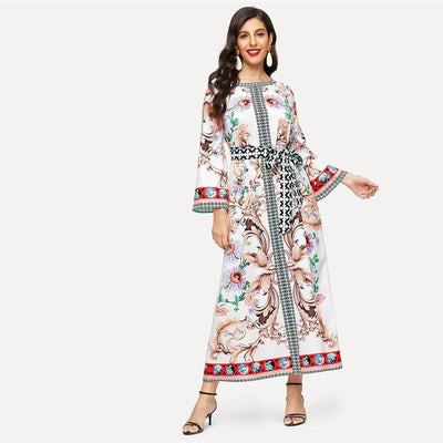 Boho Printed Fluid Long Dress Ladylike