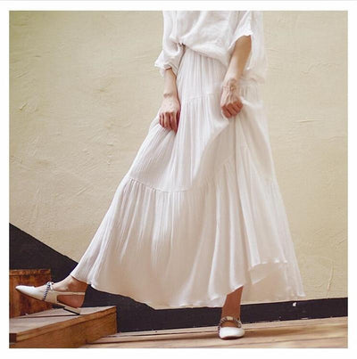 White Boho Long Skirt 2019