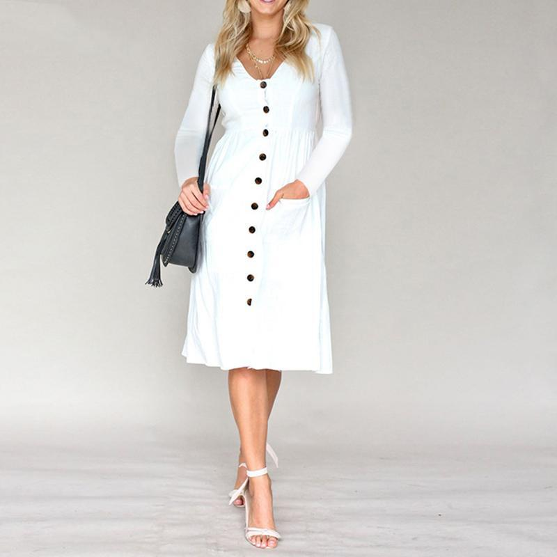 Boho White Long Dress With Buttons luxury