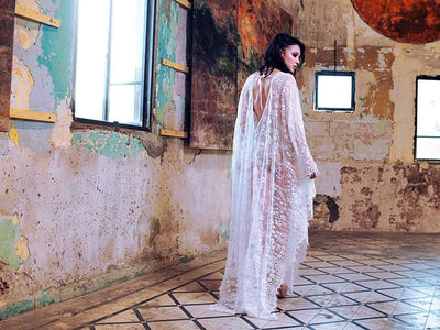 Boho Long Dress In Transparent Lace cheap