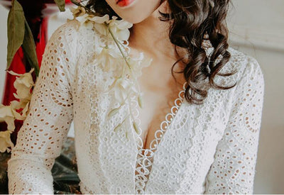 Boho Dress White Lace Long Sleeve 1 cute