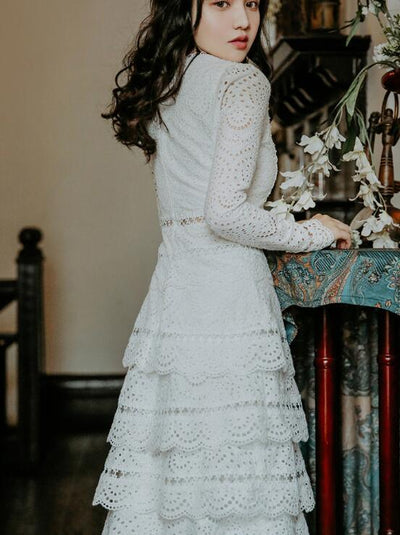 Boho Dress White Lace Long Sleeve 1 high quality