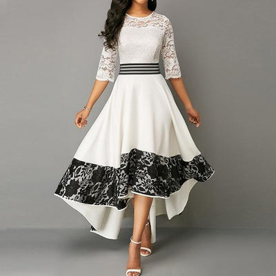 Long Black And White Boho Dress style