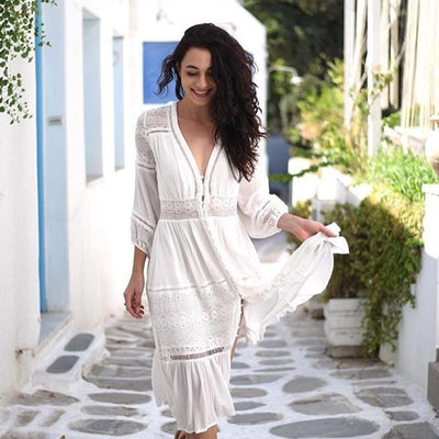 White Boho Dress Long Sleeves 2020
