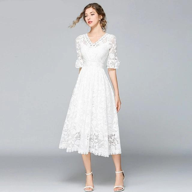 Boho Dress Chic Long White Lace luxury