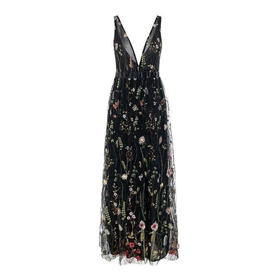 Boho Long Dress Chic Flowers Embroidery bohemian life