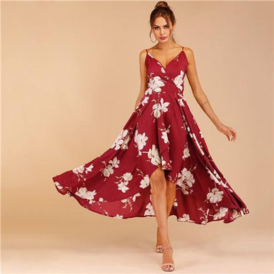 Boho Long Dress With Flowers Ladylike
