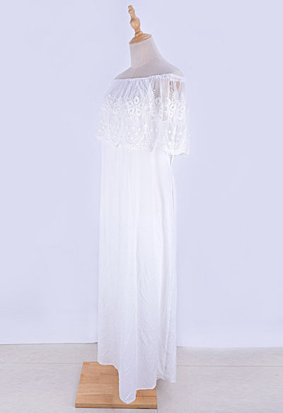 Boho Chic Long White Dress bohemian