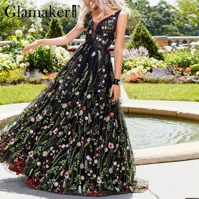 Boho Long Dress Chic Flowers Embroidery Ladylike