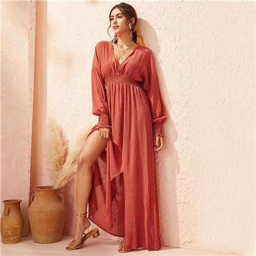 Boho Dress Long Chic Red Ladylike
