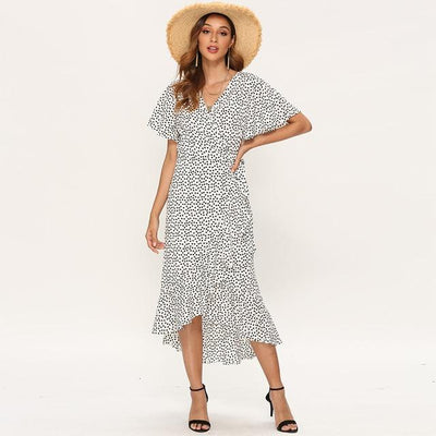 Boho Long Dress With Short Sleeves Ladylike