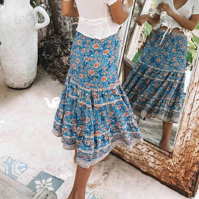 Blue Boho Long Skirt beautiful