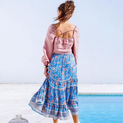 Blue Boho Long Skirt cute
