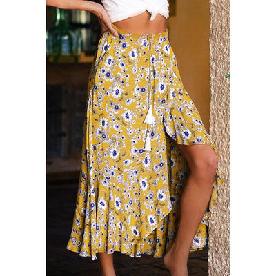 Yellow Boho Long Skirt women