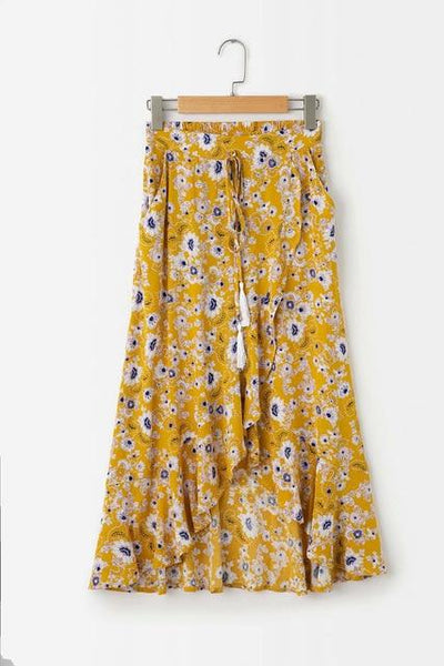 Yellow Boho Long Skirt chaming