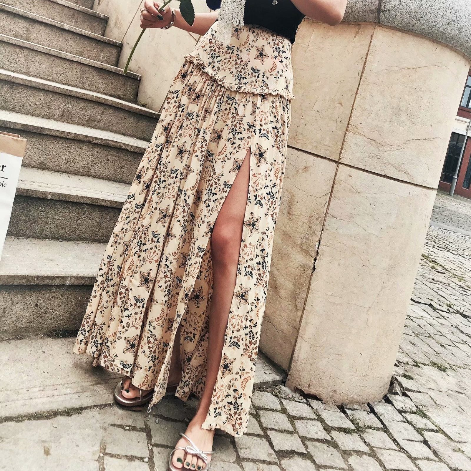 Boho Beige Split Long Skirt Ladylike