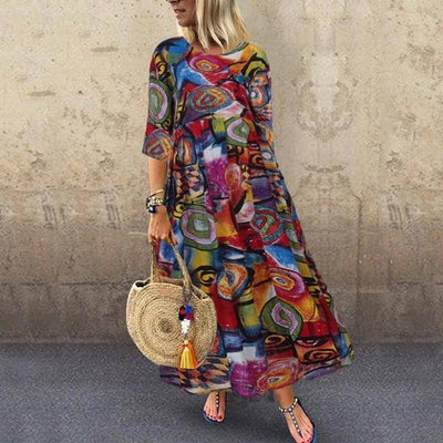 Colored Boho Long Dress finely tailored