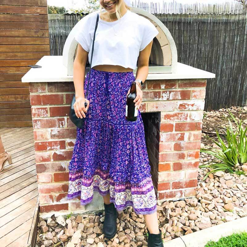 Purple Boho Long Skirt boho chic