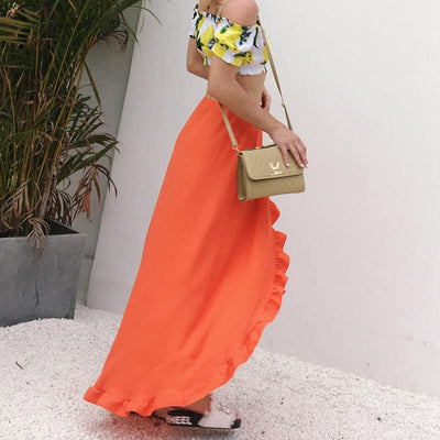 Orange Boho Long Skirt high quality