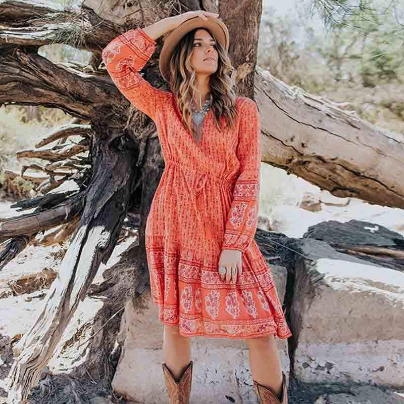 Coral Boho Long Dress cheap