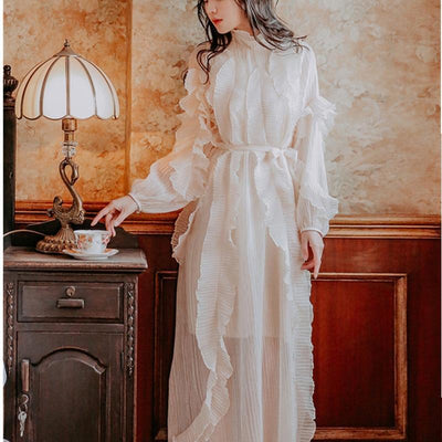 Romantic Boho Long White Dress trendy