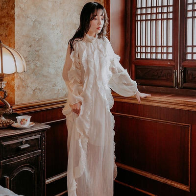 Romantic Boho Long White Dress luxury