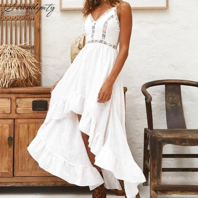Asymmetrical White Long Dress chic