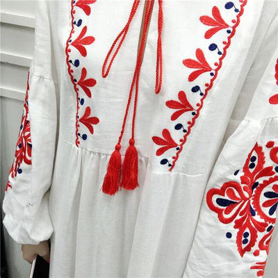 White Long Boho Dress With Embroidery cheap